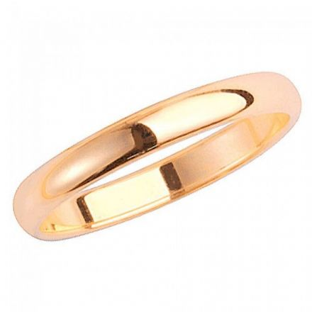 Yellow GOLD WEDDING RING 9K White Gold D SHAPE 2.5 MM-1.7, W102H